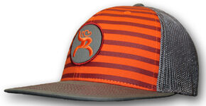 "HOOey Men's Roughy ""Chute"" Orange Striped Trucker Hat, Grey, hi-res"