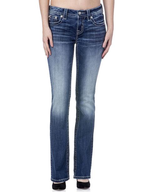Miss Me Women's Cowhide Flap Jeans - Boot Cut, Blue, hi-res