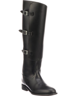 Lucchese Women's Bruna Black Buckle Fashion Boots - Round Toe, Black, hi-res