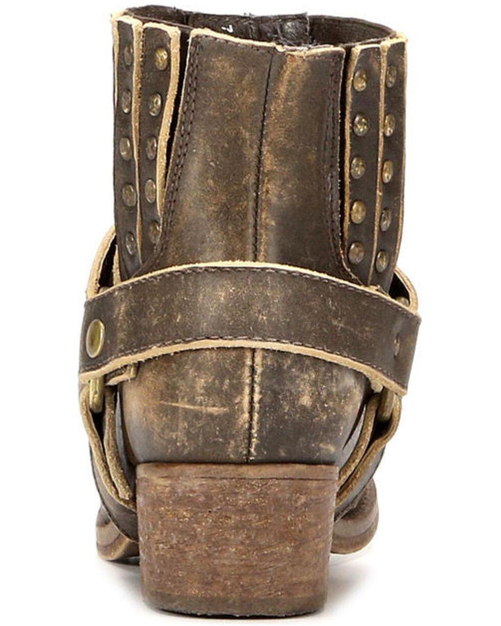 Circle G Women's Harness and Studs Short Boots - Narrow Square Toe, Cognac, hi-res