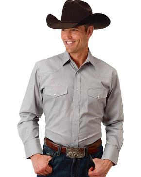 Roper Men's Grey Solid Broadcloth Long Sleeve Shirt , Grey, hi-res