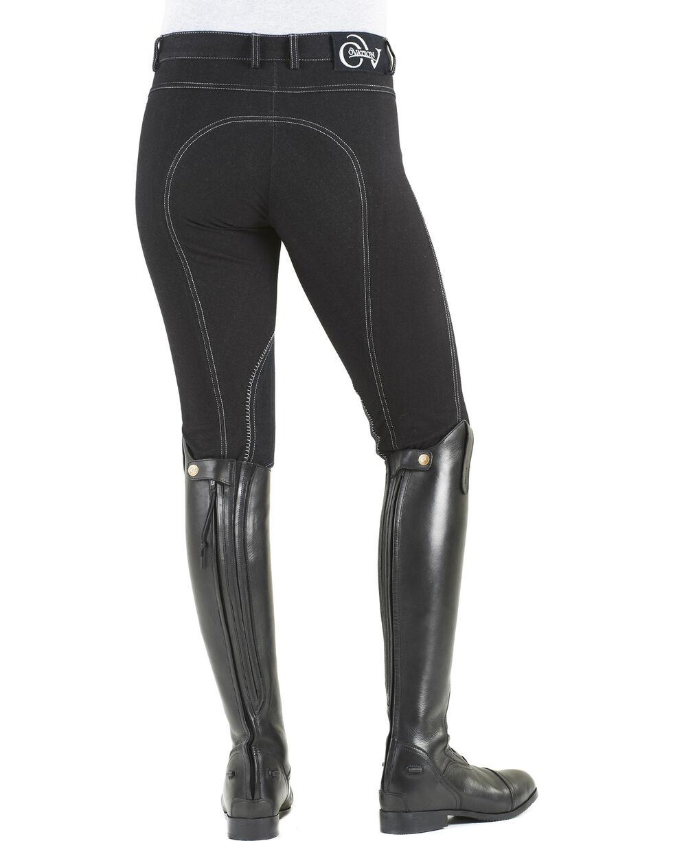 Ovation Women's Euro Jean Zip Front Knee Patch Breeches, Black, hi-res