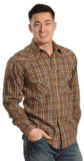 Ariat Hearne Chestnut Plaid Retro Snap Long Sleeve Shirt, Chestnut, hi-res