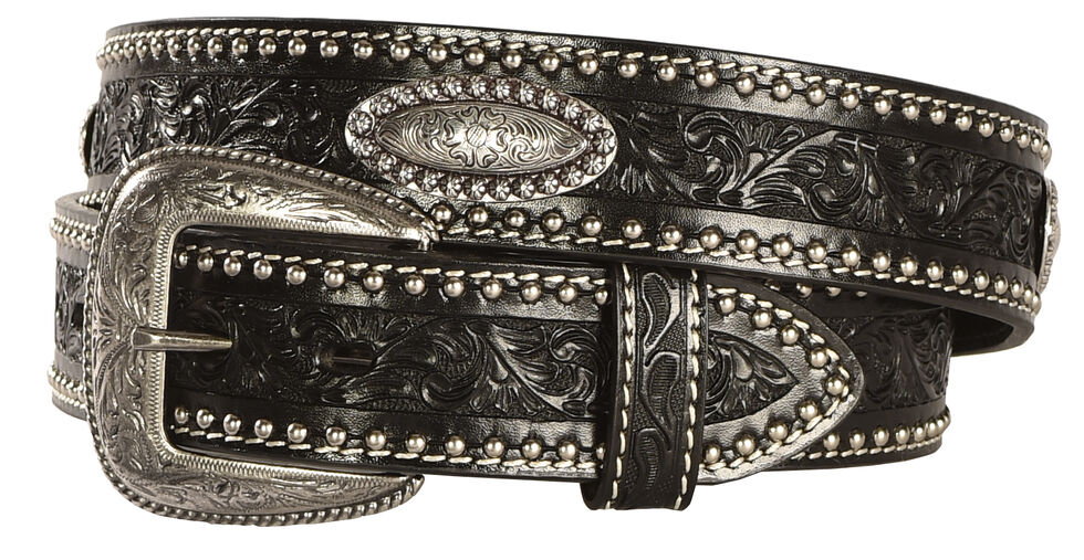 AndWest Men's Tooled Concho Black Leather Belt, Black, hi-res