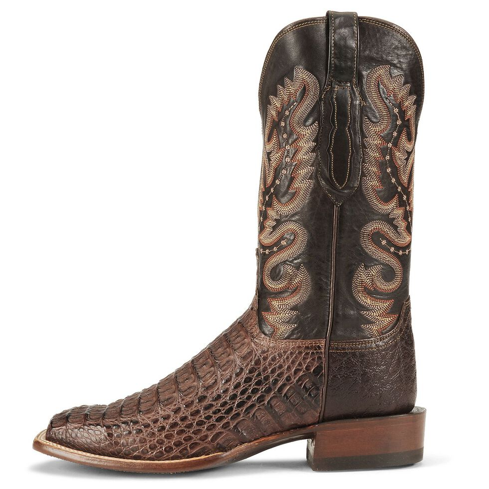 Lucchese Handcrafted Waxy Hornback Caiman Cowboy Boots - Square Toe, Barrel Brn, hi-res