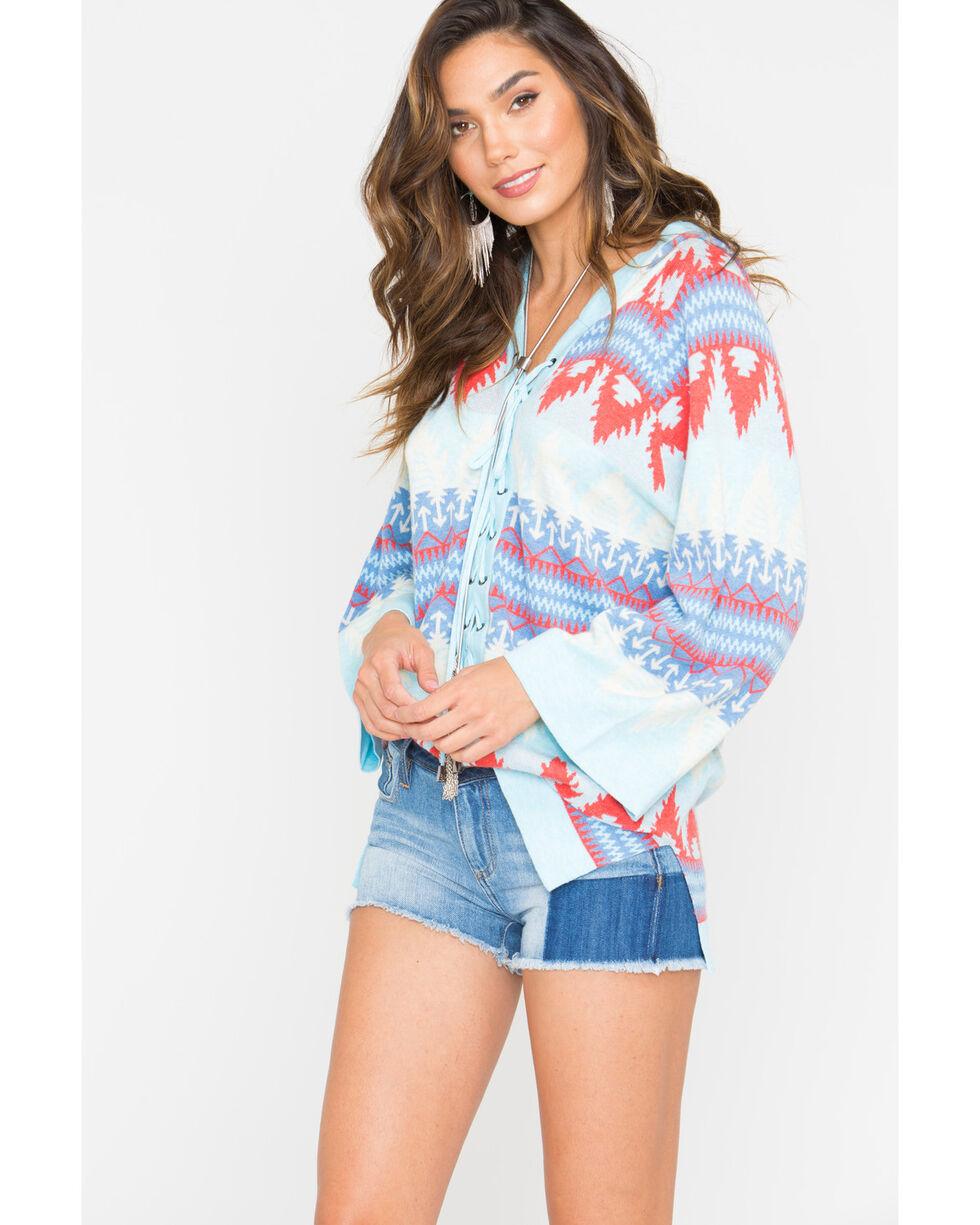 Tasha Polizzi Laredo Hooded Lace-Up Sweater , Light Blue, hi-res