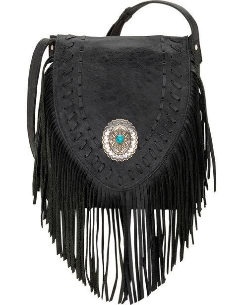 American West Seminole Collection Soft Fringe Crossbody Bag, Charcoal Grey, hi-res