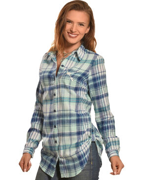 Derek Heart Women's Love Silver Foil Green Plaid Tunic, Green, hi-res