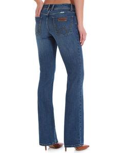 Wrangler Women's Light Blue Retro Mae Leather Trim Mid-Rise Jeans - Boot Cut , Indigo, hi-res
