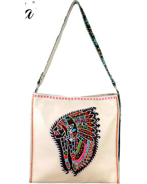 Montana West Women's Delila Leather Embroidered Indian Chief Tote Bag, Beige/khaki, hi-res