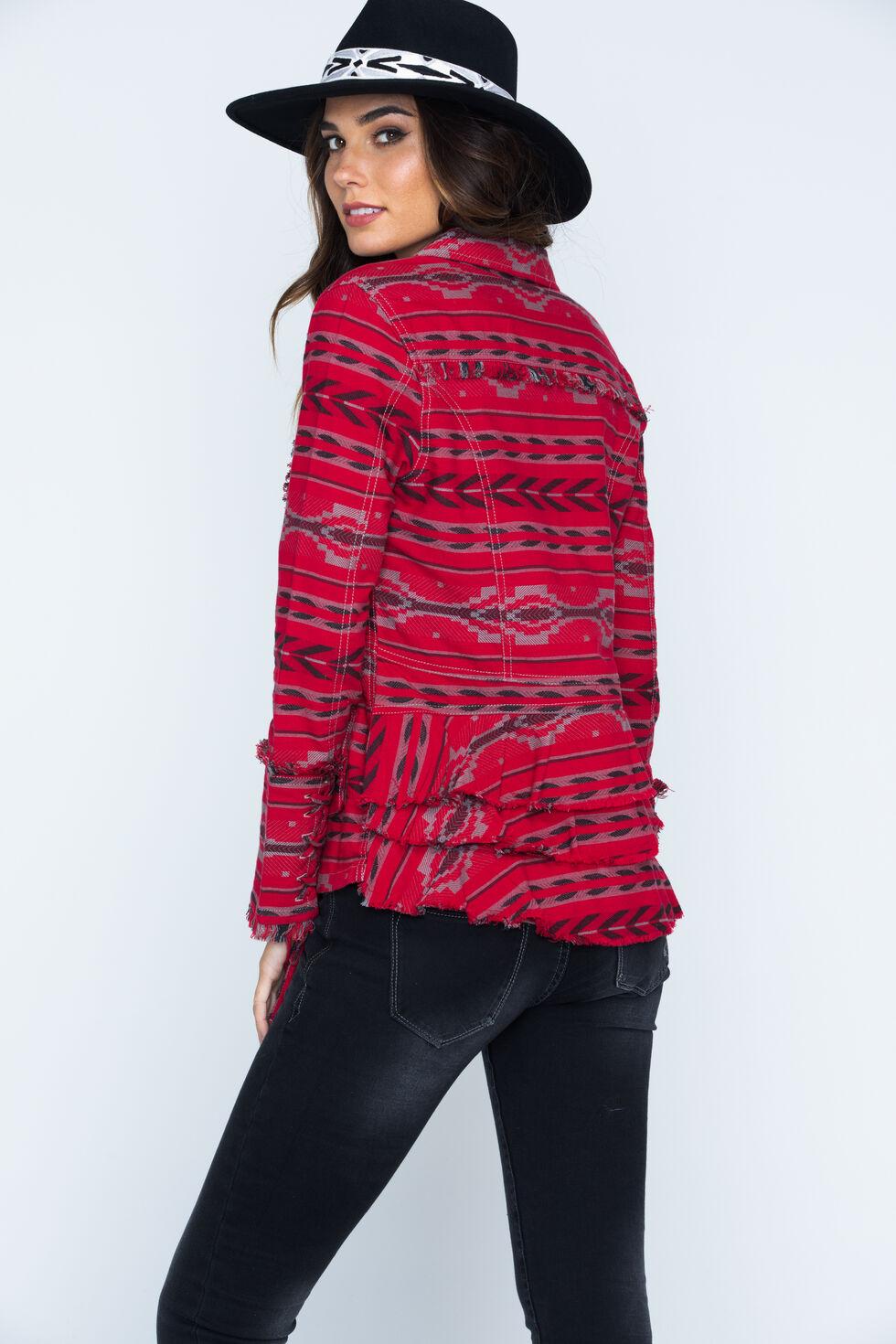 Ryan Michael Women's Beacon Blanket Jacket , Ruby, hi-res
