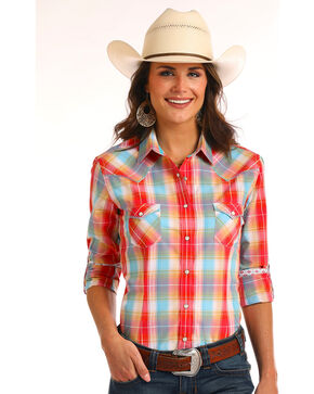Rough Stock by Panhandle Women's Vintage Ombre Plaid Long Sleeve Shirt, Multi, hi-res