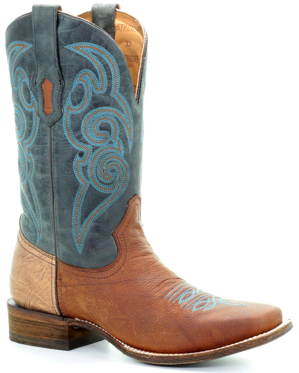Corral Men's Turquoise Tyson Durfey Performance Line TD Boots - Square Toe, Brown, hi-res