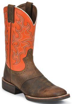 Justin Silver Orange Cattleman Saddle Vamp Cowboy Boots - Wide Square Toe, , hi-res