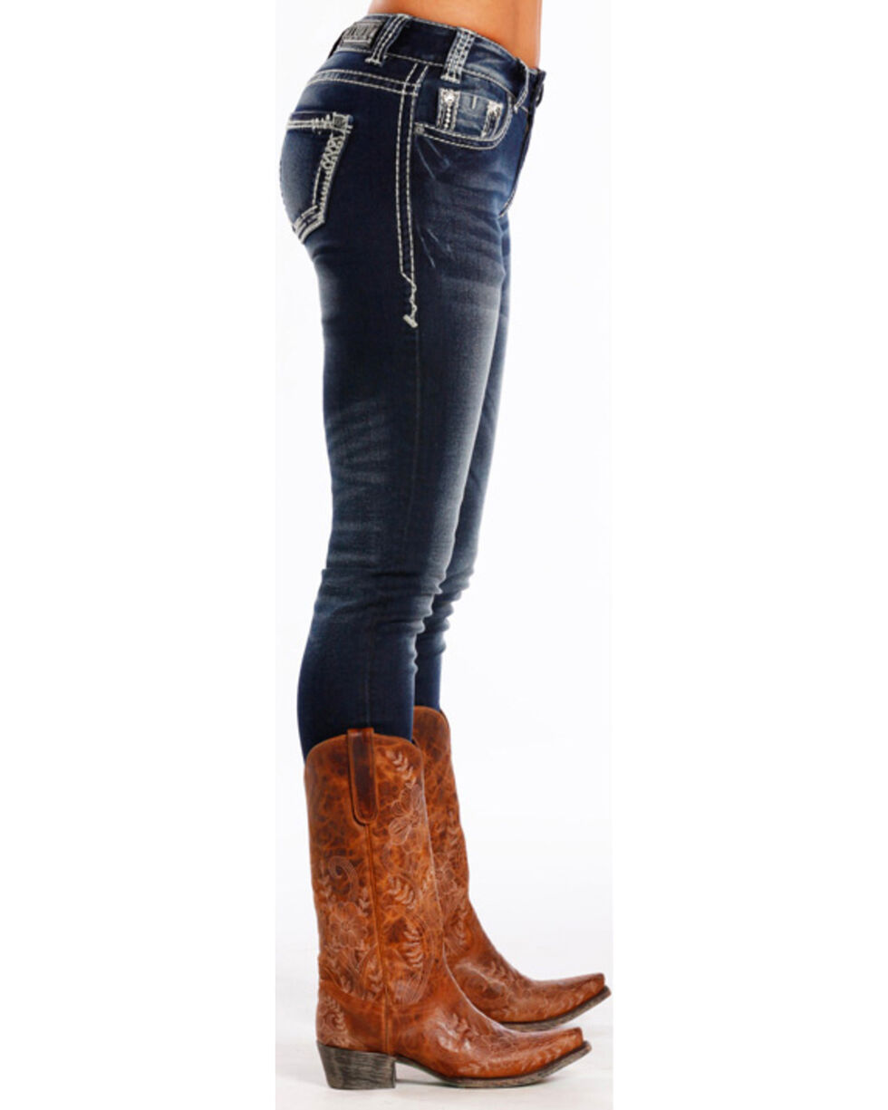 Rock & Roll Cowgirl Women's Dark Blue Mid-Rise Skinny Jeans , Blue, hi-res