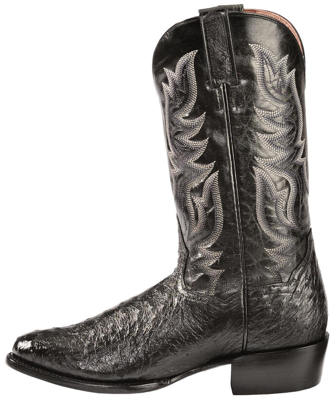 Dan Post Black Full Quill Ostrich Cowboy Boots - Round Toe, Black, hi-res