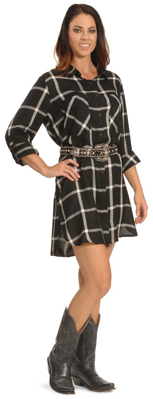 New Direction Women's Black Plaid Shirt Dress - Plus Sizes, Blk Plaid, hi-res