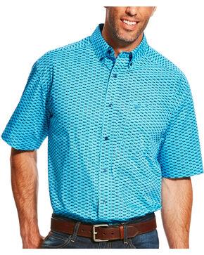 Ariat Men's Lowan Short Sleeve Shirt, Blue, hi-res