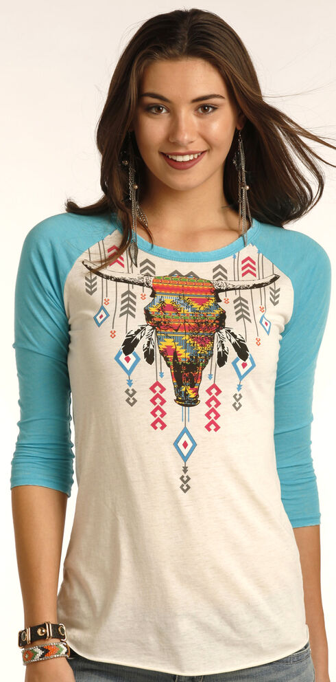 Rock & Roll Cowgirl Women's Blue Aztec Steer Head Graphic Tee , Blue, hi-res