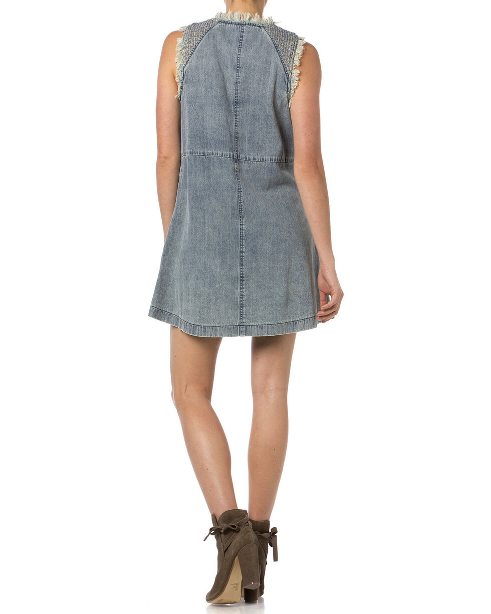 Miss Me Frayed Denim Sleeveless Dress , Indigo, hi-res