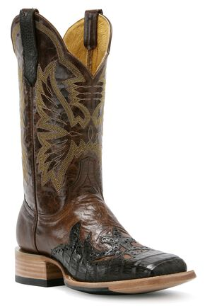 Cinch Classic Cigar Caiman Wingtip Cowgirl Boots - Square Toe, Brown, hi-res