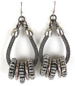 Treska Silver Loop Earrings With Antiqued Rings, Silver, hi-res