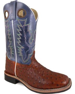 Smoky Mountain Women's Cognac Cheyenne Ostrich Print Boots - Square Toe , Cognac, hi-res