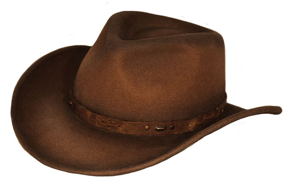 Outback Trading Co. Sidekick UPF50 Sun Protection Crushable Wool Hat, Brown, hi-res
