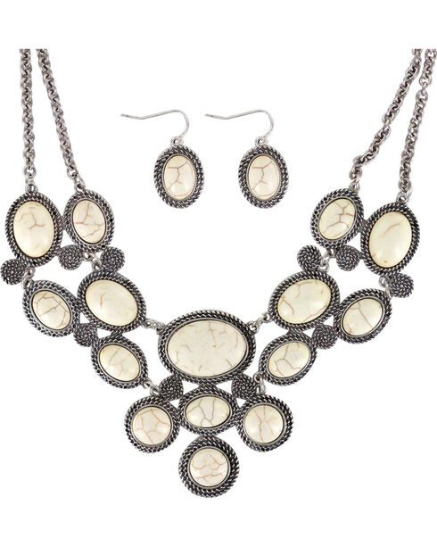 Shyanne Women's Marble Stone Jewelry Set, Silver, hi-res