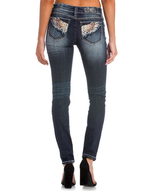 Miss Me Women's Indigo Wing Embroidered Jeans - Skinny , Indigo, hi-res