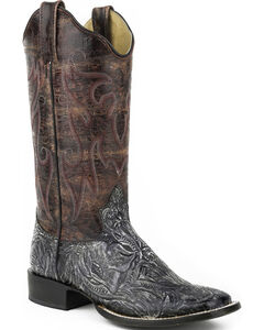 Roper Purple and Silver Faux Tooled Cowgirl Boots - Square Toe , , hi-res