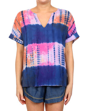 Glam Women's Tye Dye Short Sleeve Top , Multi, hi-res
