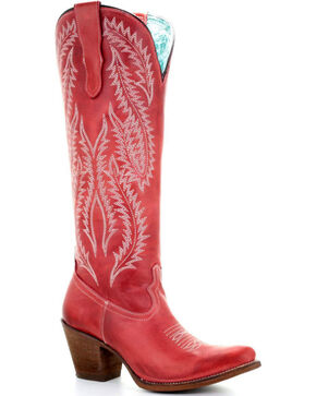 Corral Women's Red Embroidery Tall Top Western Boots - Round Toe, Red, hi-res