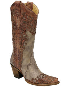 Corral Laser Overlay Cowgirl Boots - Snip Toe, , hi-res