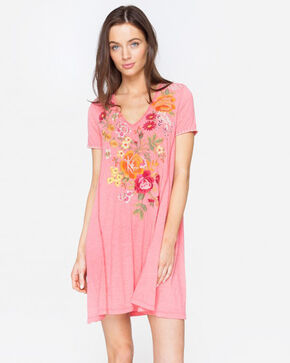 Johnny Was Women's Karlota Draped T-Shirt Tunic Dress , Coral, hi-res