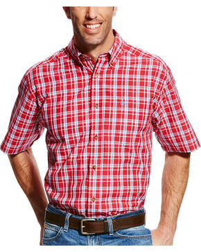 Ariat Men's Red Cedric Plaid Short Sleeve Shirt - Tall , Red, hi-res