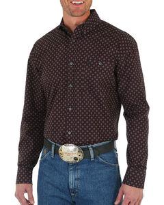 Wrangler Men's George Strait Print Long Sleeve Shirt, Wine, hi-res
