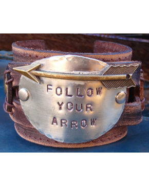 Jewelry Junkie Follow Your Arrow Leather Cuff, Brown, hi-res