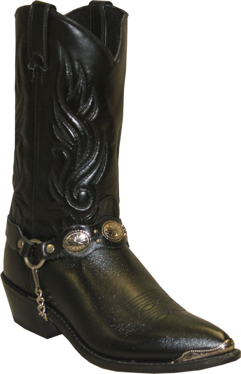Sage by Abilene Black with Concho Strap Western Boots, Black, hi-res