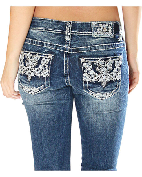 Grace in LA Women's Indigo Pocket Stitched Jeans - Straight Leg, Indigo, hi-res