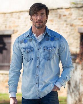 Ryan Michael Men's Indigo Embroidered Ombre Shirt , Indigo, hi-res