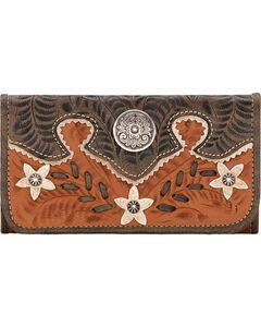 American West Golden Tan Desert Wildflower Ladies Wallet, , hi-res
