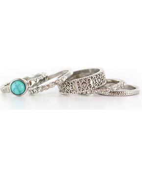 Shyanne Women's Antiqued Silver Tone Ring Set, Silver, hi-res