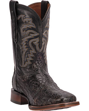 Dan Post Everglades Caiman Cowboy Boots - Square Toe, Black, hi-res