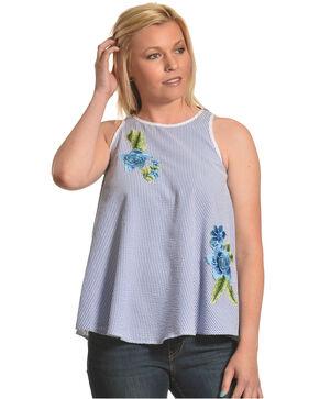 CES FEMME Women's Blue Striped Sleeveless Top , Blue, hi-res
