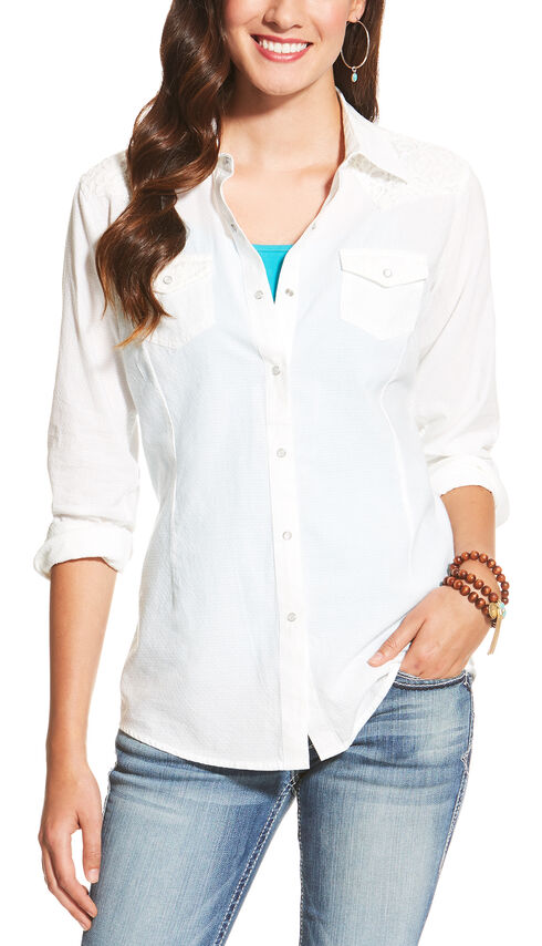 Ariat Women's White Darby Snap Shirt, White, hi-res