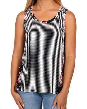Eyeshadow Women's Floral and Stripe Tank, Multi, hi-res