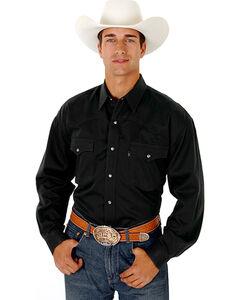 Roper Men's Rugged Twill Snap Western Shirt, Black, hi-res
