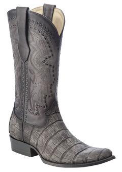 Corral Alligator Cowboy Boots - Round Toe, Grey, hi-res