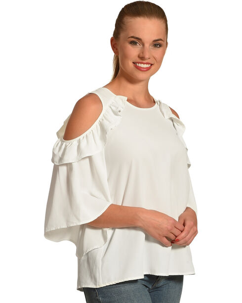 Polagram Women's White Cold Should Ruffle Top , White, hi-res